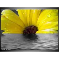 Glas schilderij Bloem | Geel, Grijs