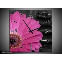 Wandklok op Canvas Bloem | Kleur: Paars, Zwart | F003574C