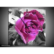 Wandklok op Canvas Roos | Kleur: Paars, Grijs, Zwart | F003576C