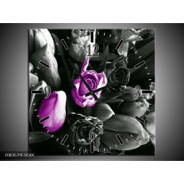 Wandklok op Canvas Tulp | Kleur: Paars, Grijs, Zwart | F003579C
