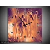 Wandklok op Canvas Bloem | Kleur: Bruin, Grijs | F003581C