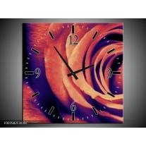 Wandklok op Canvas Roos | Kleur: Bruin, Zwart | F003582C