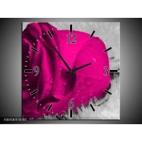 Wandklok op Canvas Roos | Kleur: Roze, Grijs | F003583C