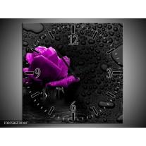 Wandklok op Canvas Roos | Kleur: Paars, Zwart | F003586C