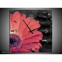 Wandklok op Canvas Bloem | Kleur: Oranje, Zwart | F003587C