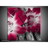 Wandklok op Canvas Bloem | Kleur: Rood, Wit, Grijs | F003588C