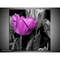 Wandklok op Canvas T0 | Kleur: Paars, Grijs, Zwart | F003592C