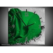 Wandklok op Canvas Roos | Kleur: Groen, Grijs, Zwart | F003593C