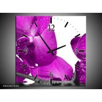 Wandklok op Canvas Orchidee | Kleur: Paars, Wit | F003596C