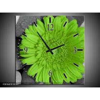 Wandklok op Canvas Bloem | Kleur: Groen, Grijs | F003603C