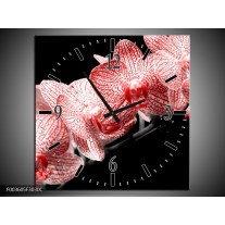 Wandklok op Canvas Orchidee | Kleur: Rood, Wit, Zwart | F003605C