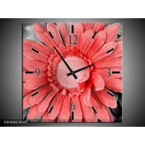 Wandklok op Canvas Gerbera | Kleur: Rood, Zwart | F003606C