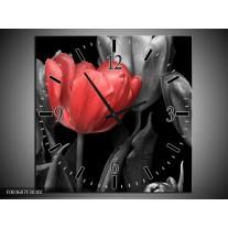 Wandklok op Canvas Tulp | Kleur: Rood, Grijs, Zwart | F003607C