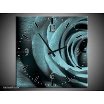 Wandklok op Canvas Roos | Kleur: Grijs, Zwart | F003608C