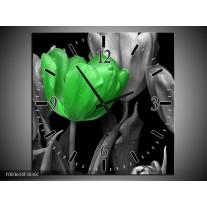 Wandklok op Canvas Tulp | Kleur: Groen, Grijs, Zwart | F003614C