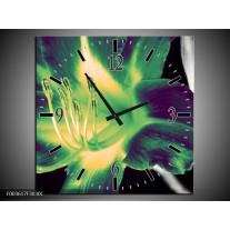 Wandklok op Canvas Bloem | Kleur: Zwart, Groen, Grijs | F003617C