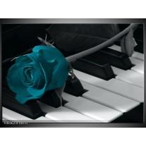 Foto canvas schilderij Roos   Blauw, Zwart, Wit