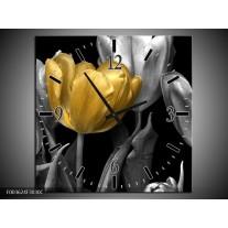 Wandklok op Canvas Tulp | Kleur: Goud, Zilver, Grijs | F003624C