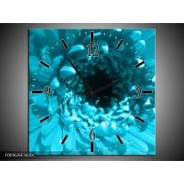 Wandklok op Canvas Gerbera | Kleur: Blauw, Zwart, Wit | F003626C