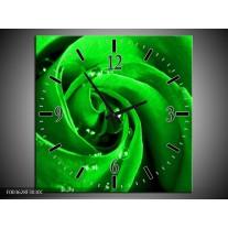 Wandklok op Canvas Roos | Kleur: Groen, Zwart | F003628C