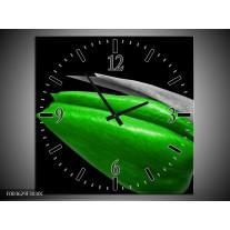 Wandklok op Canvas Tulp | Kleur: Groen, Zwart, Grijs | F003629C