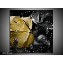Wandklok op Canvas Roos   Kleur: Geel, Grijs, Zwart   F003632C
