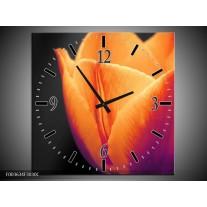 Wandklok op Canvas Tulp | Kleur: Oranje, Geel, Zwart | F003634C