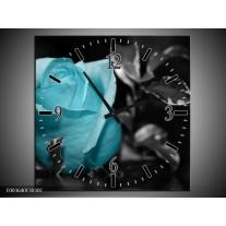 Wandklok op Canvas Roos | Kleur: Blauw, Grijs, Zwart | F003640C