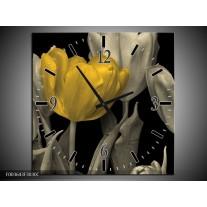 Wandklok op Canvas Tulp | Kleur: Geel, Zwart | F003643C