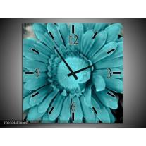 Wandklok op Canvas Gerbera   Kleur: Blauw, Grijs   F003644C
