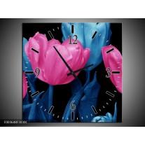 Wandklok op Canvas Tulp | Kleur: Roze, Blauw, Zwart | F003648C