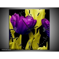 Wandklok op Canvas Tulp | Kleur: Paars, Geel, Zwart | F003650C