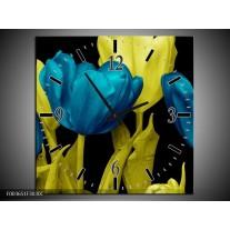 Wandklok op Canvas Tulp   Kleur: Blauw, Geel, Zwart   F003651C