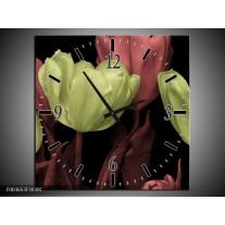 Wandklok op Canvas tulp | Kleur: Geel, Rood, Zwart | F003653C