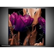 Wandklok op Canvas Tulp | Kleur: Paars, Bruin, Zwart | F003654C