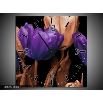 Wandklok op Canvas Tulp | Kleur: Paars, Bruin, Zwart | F003655C