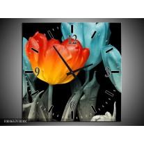 Wandklok op Canvas Tulp | Kleur: Oranje, Blauw, Zwart | F003657C