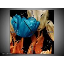 Wandklok op Canvas Tulp | Kleur: Blauw, Oranje, Zwart | F003658C