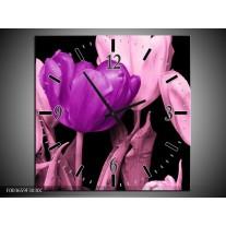 Wandklok op Canvas Tulp | Kleur: Paars, Roze, Zwart | F003659C