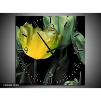 Wandklok op Canvas Tulp | Kleur: Groen, Geel, Zwart | F003660C