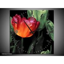 Wandklok op Canvas Tulp | Kleur: Oranje, Groen, Zwart | F003661C