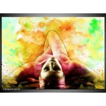 Foto canvas schilderij Vrouw | Geel, Groen, Rood