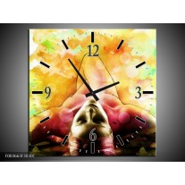 Wandklok op Canvas Vrouw | Kleur: Geel, Groen, Rood | F003663C