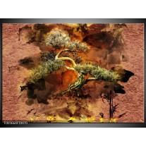 Glas schilderij Bonsai | Groen, Bruin, Zwart