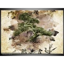 Foto canvas schilderij Bonsai | Groen, Wit