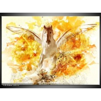 Foto canvas schilderij Paard | Geel, Wit, Goud