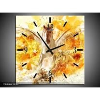 Wandklok op Canvas Paard | Kleur: Geel, Wit, Goud | F003666C