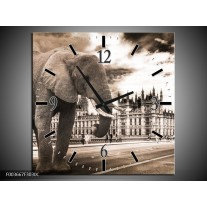 Wandklok op Canvas Olifant | Kleur: Grijs, Zwart | F003667C