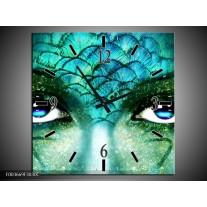 Wandklok op Canvas Gezicht | Kleur: Blauw, Wit, Zwart | F003669C