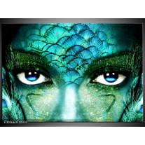 Glas schilderij Gezicht | Blauw, Wit, Zwart